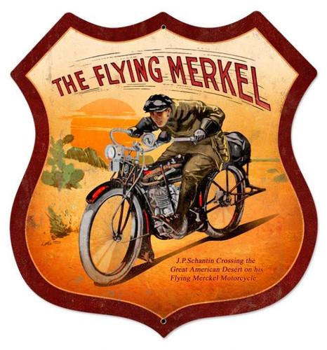 Vintage Flying Merkel Shield Metal Sign 28 x 28 Inches