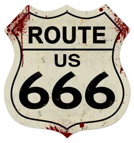 Retro Route 666 Shield Metal Sign 28 x 28 Inches