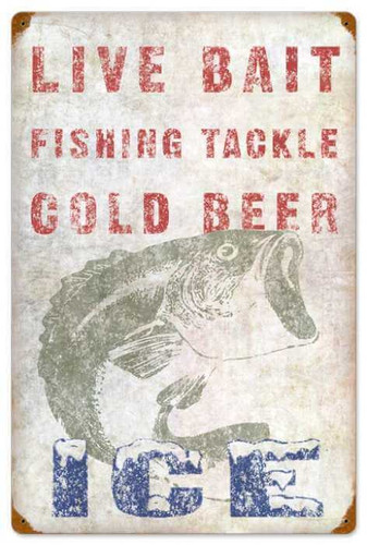 Retro Live Bait Metal Sign 16 x 24 Inches