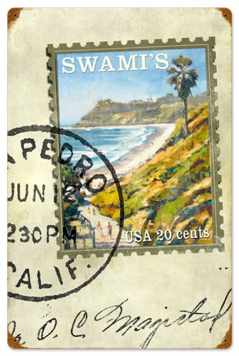 Retro Swami's Stamp Metal Sign 16 x 24 Inches
