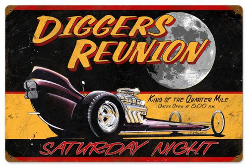 Retro Diggers Reunion Metal Sign 24 x 16 Inches