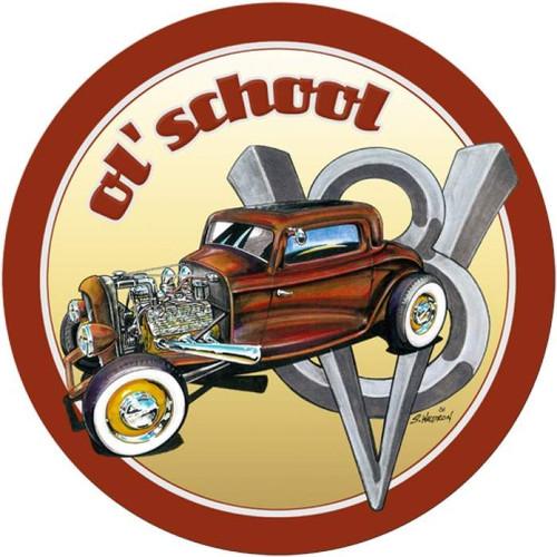 Retro Ol' School Round Metal Sign 14 x 14 Inches