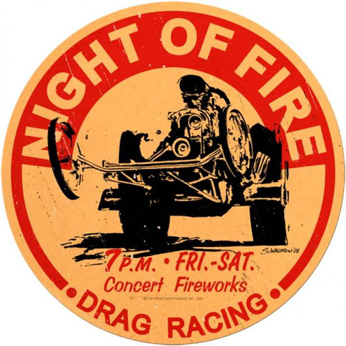 Retro Night Of Fire Round Metal Sign 14 x 14 Inches