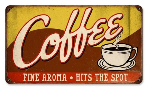 Retro Coffee Tin Sign 14 x 8 Inches