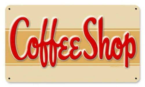Retro Coffee Shop Metal Sign 14 x 8 Inches