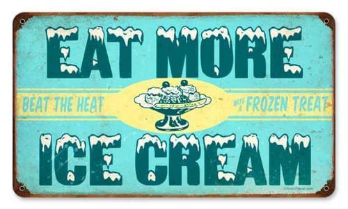 Retro Ice Cream Metal Sign 14 x 8 Inches