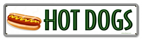 Retro Hot Dogs Metal Sign 20 x 5 Inches