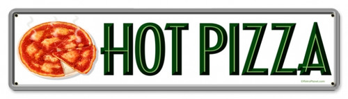 Retro Hot Pizza Metal Sign 20 x 5 Inches
