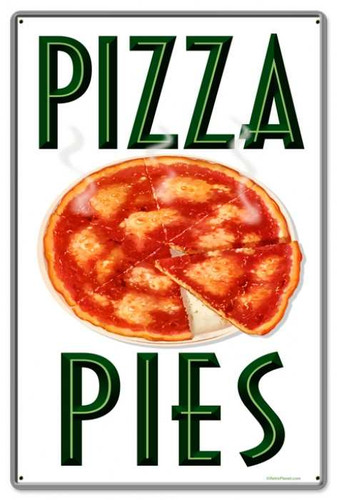 Retro Hot Pizza Metal Sign 16 x 24 Inches
