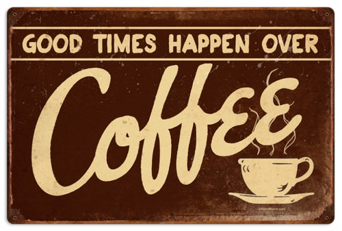 Retro Coffee Metal Sign Metal Sign 24 x 16 Inches