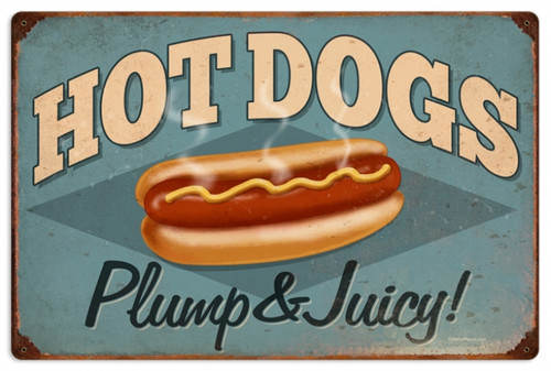 Retro Hot Dogs Metal Sign 24 x 16 Inches