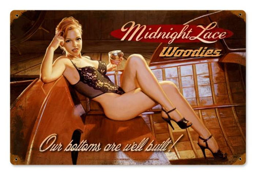 Retro Midnight Lace  - Pin-Up Girl Metal Sign 18 x 12 Inches