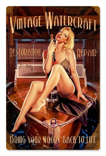 Vintage Vintage Watercraft  - Pin-Up Girl Metal Sign 12 x 18 inches