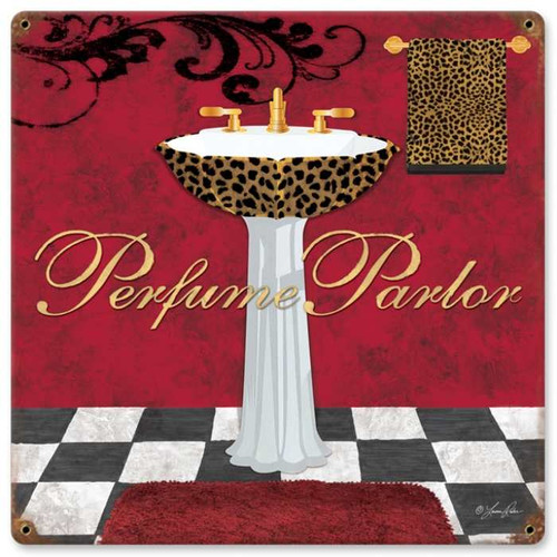 Retro Perfume Parlor Metal Sign 18 x 18 Inches