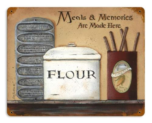 Retro Meals Memories Metal Sign 14 x 11 Inches