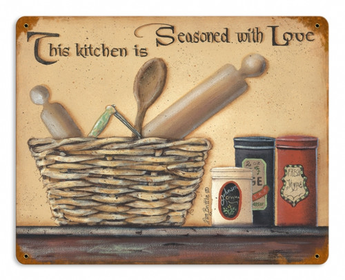 Retro Seasoned with Love Metal Sign 14 x 11 Inches