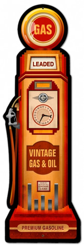 Retro Gas Pump Metal Sign 7 x 26 inches