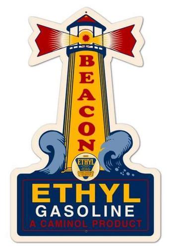 Retro Light House Ethyl Gasoline Custom Shape Metal Sign 14 x 22 Inches