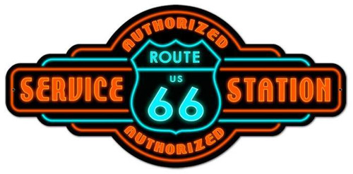 Retro Route 66 Service Metal Sign 26 x 12 Inches