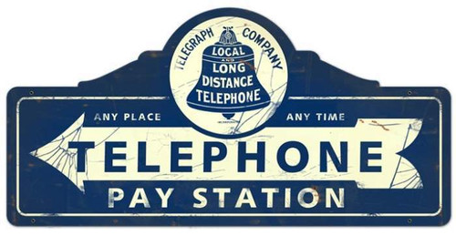 Vintage Telephone Pay Station Metal Sign 26 x 12 inches