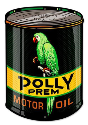 Retro Polly Oil Can Custom Shape Metal Sign 14 x 20 Inches