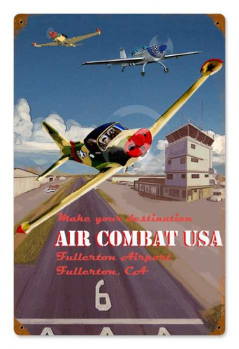 Vintage Air Combat Metal Sign 12 x 18 Inches