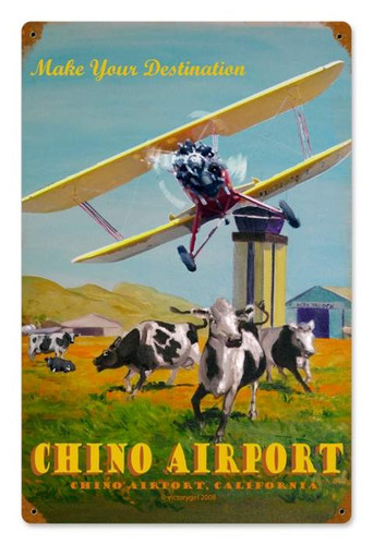 Vintage Chino Airport Metal Sign 12 x 18 Inches