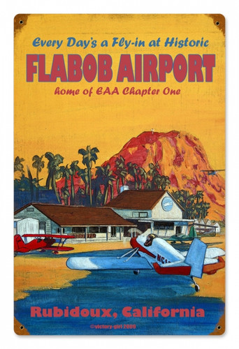 Vintage Flabob Airport Metal Sign 12 x 18 Inches