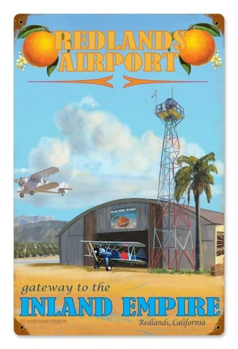Vintage Redlands Airport Metal Sign 12 x 18 Inches