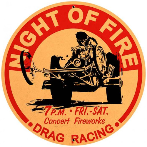 Retro Night of Fire Round Metal Sign 28 x 28 Inches