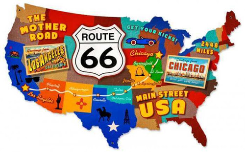 Retro Route 66 USA Metal Sign 25 x 16 inches