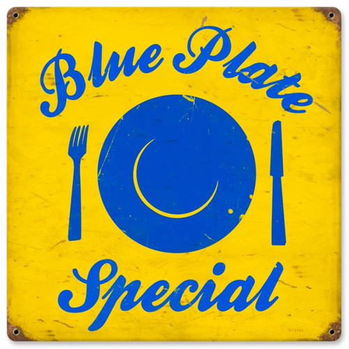 Vintage Blue Plate Metal Sign 12 x 12 Inches