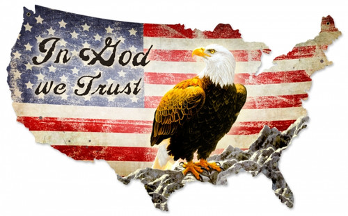 Retro In God We Trust Metal Sign 25 x 16 inches