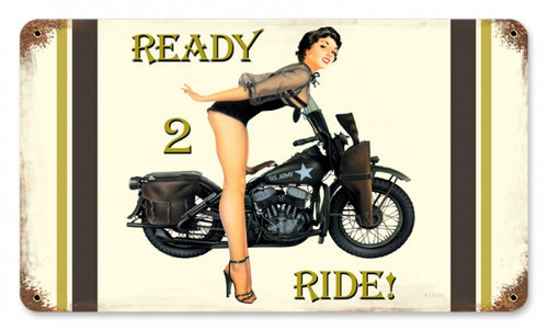 Retro Ready 2 Ride  - Pin-Up Girl Metal Sign 14 x 8 Inches