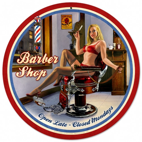 Retro Barber Shop - Pin-Up Girl Metal Sign 28 x 28 inches