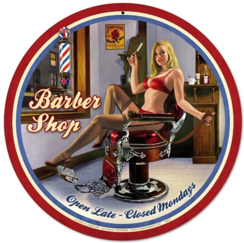 Retro Barber Shop  - Pin-Up Girl Metal Sign 14 x 14 inches