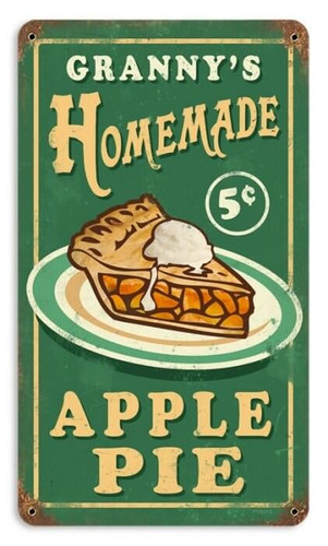 Vintage Granny's Apple Pie Metal Sign    8 x 14 Inches