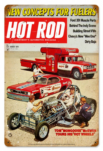 Vintage Hot Rod Magazine August 1970 Cover Metal Sign 12 x 18 Inches