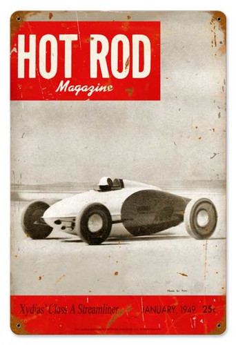 Vintage Hot Rod Magazine January 1949 Cover Metal Sign 12 x 18 Inches