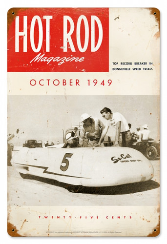 Vintage Hot Rod Magazine October 1949 Cover Metal Sign 12 x 18 Inches