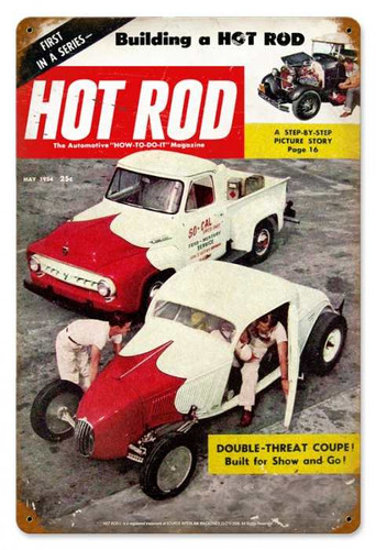 Vintage Hot Rod MagazineMay 1954 Cover Metal Sign 12 x 18 Inches