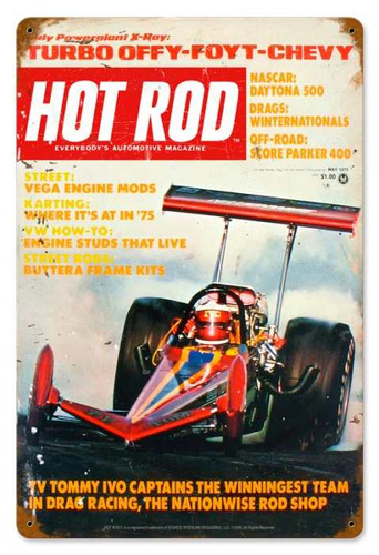 Vintage Hot Rod Magazine May 1975 Cover Metal Sign 12 x 18 Inches
