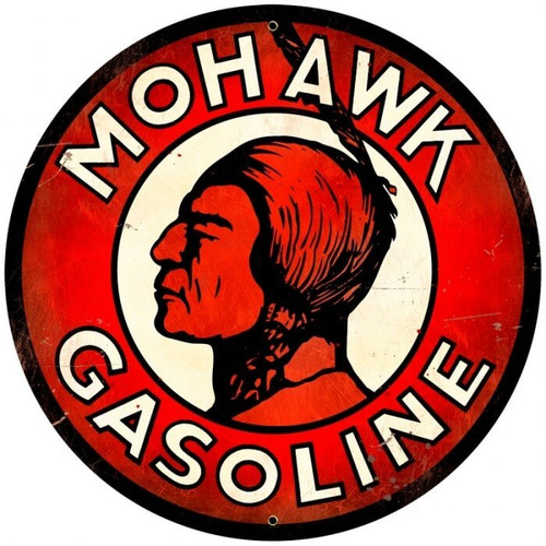 Retro Mohawk Gasoline Round Metal Sign 28 x 28 inches