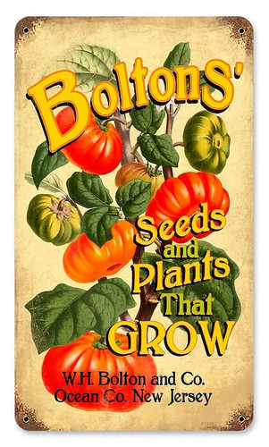 Vintage Bolton's Seeds Metal Sign 8 x 14 Inches
