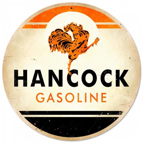 Retro Hancock Gasoline Round Metal Sign 14 x 14 inches