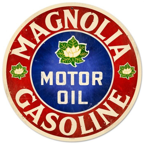 Retro Magnolia Motor Oil Round Metal Sign 14 x 14 Inches