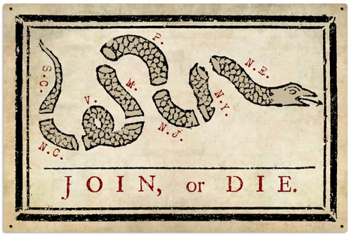 Retro Join or Die  Metal Sign 36 x 24 Inches