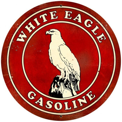 Retro White Eagle Gasoline  Round Metal Sign 28 x 28 inches