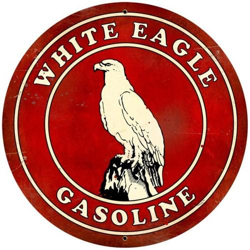 Retro White Eagle Gasoline  Round Metal Sign 28 x 28 inches
