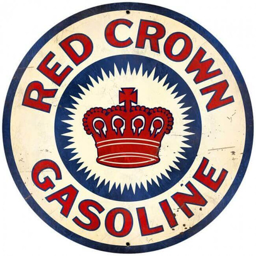 Retro Red Crown Gasoline  Round Metal Sign 28 x 28 inches